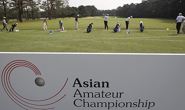 Players on the driving range ahead of the 2010 Asian Amateur Championship at Kasumigaseki Country Club in Kawagoe City, Japan.