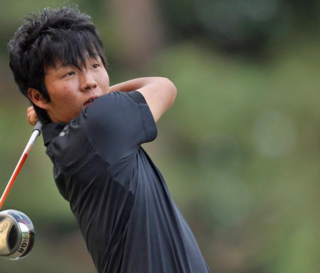 Yosuke Asaji during the first round of the Asian Amateur Championship.