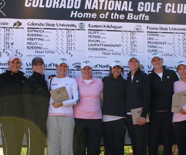 The Colorado women's golf team after winning the Heather Farr/CU Memorial Invitational. From left, Emily Talley, Meaghan Kari, Devin Dougherty, Taylor Doyle, Jamie Befort, Tessa The, Kristin Coleman, Jenny Coleman, Jessica Wallace.