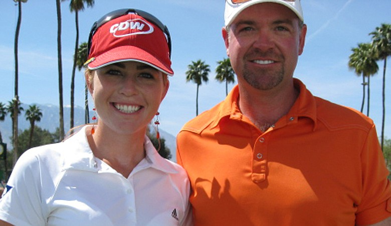 Paula Creamer and Trevor Derrheim, creator of 59 belts.