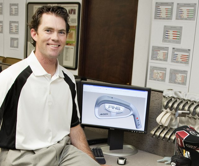 Marty Jertson, a 30-year-old engineer at Ping who is credited with designing the new Anser forged iron, is in the field this week at the Justin Timberlake Shriners Hospitals for Children Open.