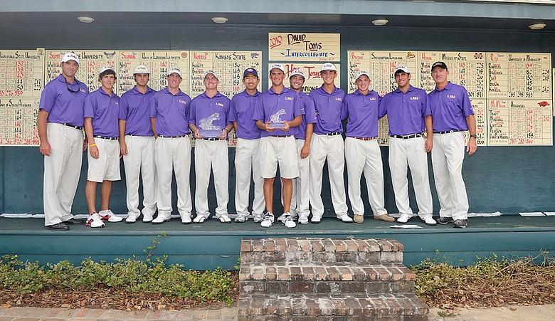 The LSU men's golf team after winning the 2010 David Toms Intercollegiate.
