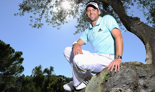Sergio Garcia of Spain poses at the Club de Campo del Mediterraneo, his home course.
