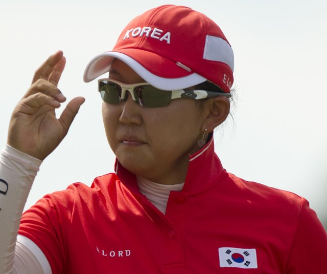 Hyun-Soo Kim of Korea during Day 2 of the Women's World Amateur Team Championship.