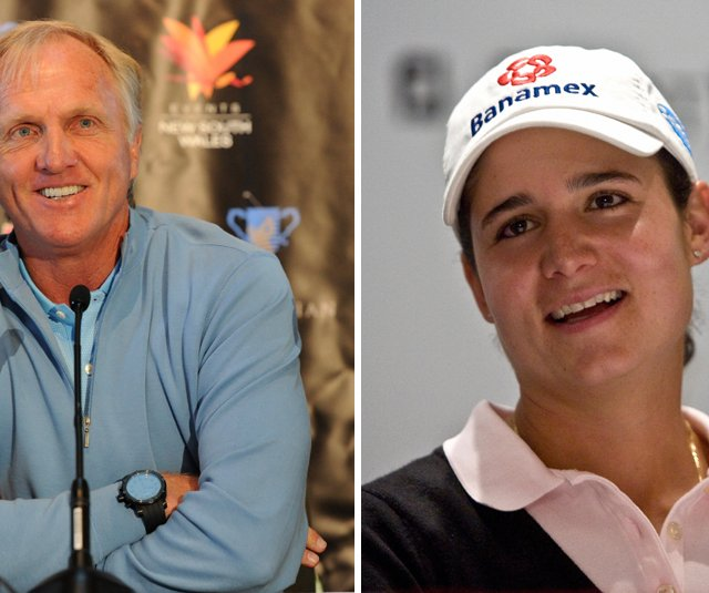 Greg Norman, left, and Lorena Ochoa hope to land the bid to design the 2016 Olympic course.