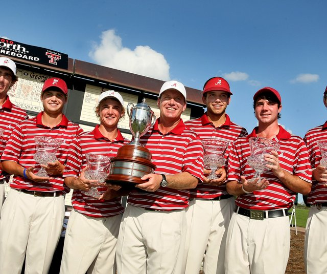 Alabama after winning the Isleworth Collegiate. From left: Scott Strohmeyer, Bobby Wyatt, Bud Cauley, head coach Jay Seawell, Cory Whitsett, Hunter Hamrick and assistant coach Scott Limbaugh.