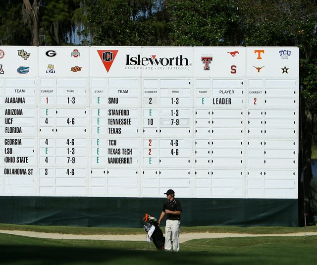 The scoreboard at the 2010 Isleworth Collegiate.