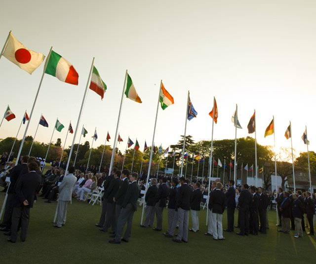 Players gather for the opening ceremonies of the World Amateur Team Championship in Buenos Aires, Argentina.