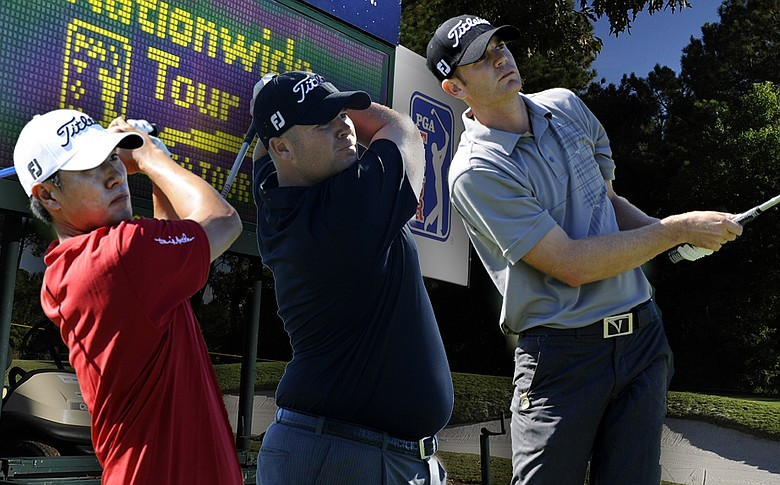 From left, James Hahn, Colt Knost and Brendan Steele are all vying for a PGA Tour card at this week's Nationwide Tour Championship.