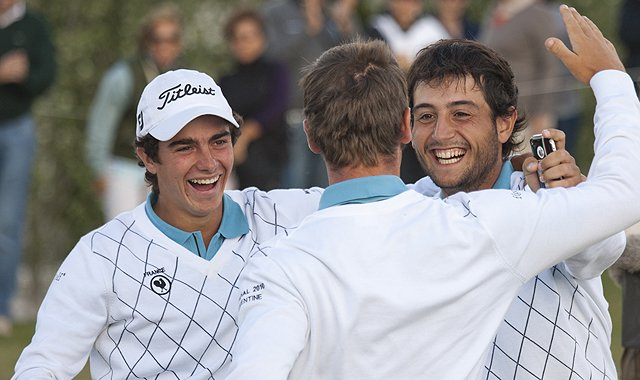 Johann Lopez-Lazaro, left, and Alexander Levy, right, congratulate Romain Wattel on the 18th green during the final round of the 2010 World Amateur Team Championship at Buenos Aires Golf Club in Buenos Aires, Argentina.