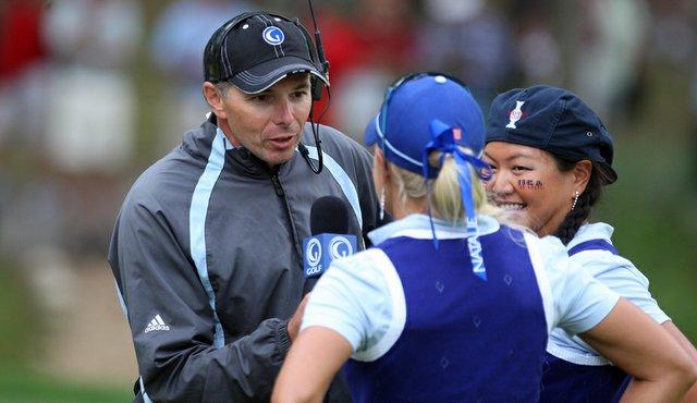 Golf Channel's Philip Parkin interviews Natalie Gulbis and Christina Kim during the 2009 Solheim Cup.