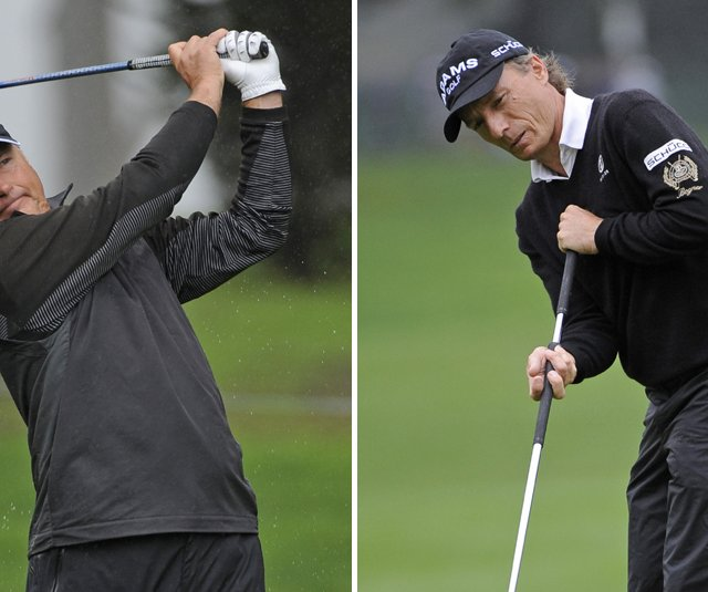 John Cook, left, and Bernhard Langer during the final round of the Schwab Cup Championship.