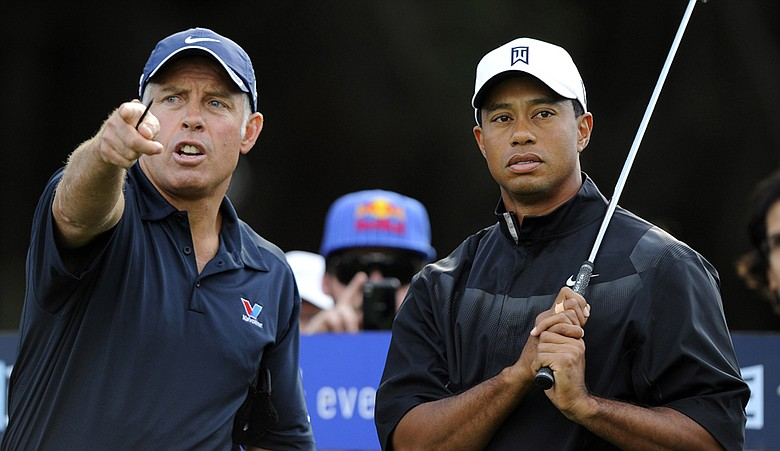 Caddie Steve Williams and Tiger Woods during the pro-am for the Australian Masters.