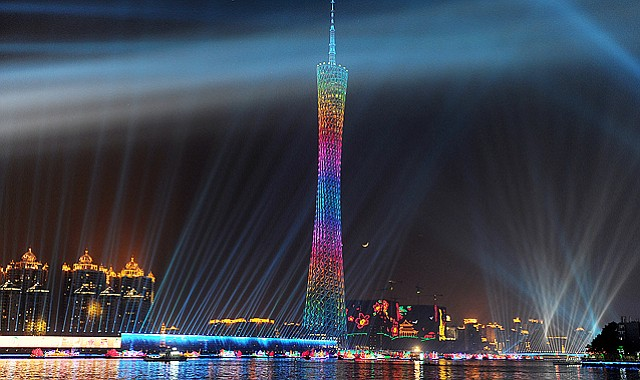 The Canton tower illuminates the sky over the city during preparations for the opening ceremony in the 16th Asian Games in Guangzhou. After six years of planning and billions of dollars in investment, Guangzhou is putting the final touches to its Asian Games.