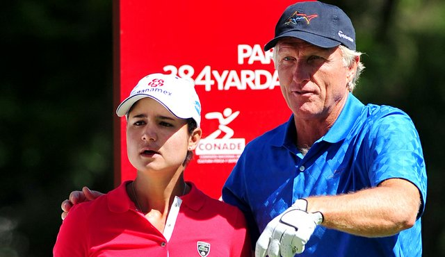 Lorena Ochoa and Greg Norman during the pro-am at the Lorena Ochoa Invitational.