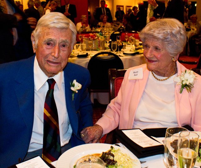 Errie Ball and his wife, Maxie, at Errie&#39;s 100th birthday party on Nov. 14, 2010.