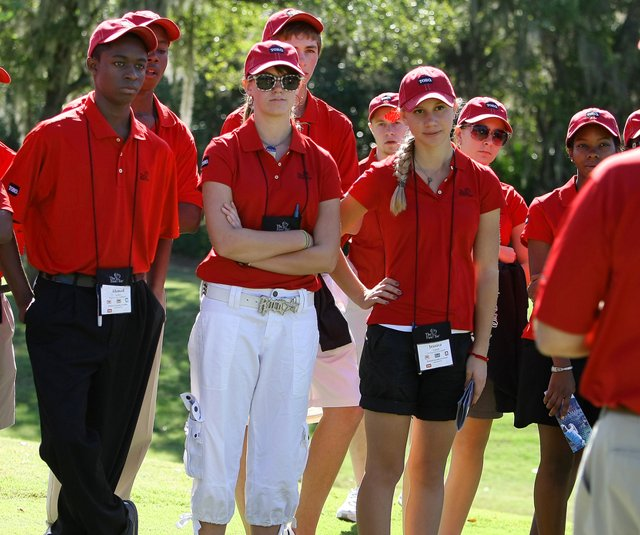 Students of the First Tee program during the Children&#39;s Miracle Foundation Classic at Disney. 
