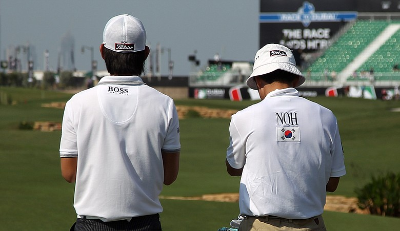 Seung-yul Noh during Round 1 of the Dubai World Championship.