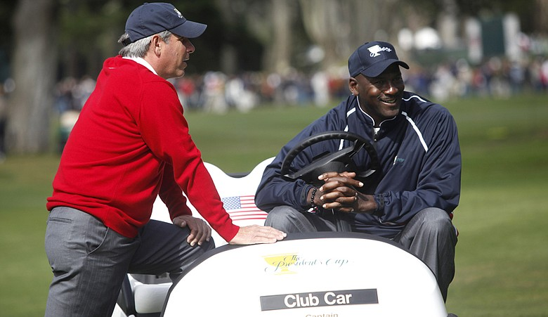 Fred Couples and Michael Jordan during the 2009 Presidents Cup.