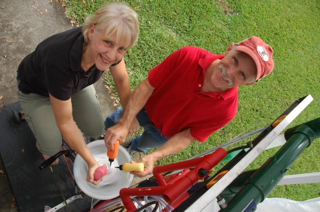 Husband and wife Joe and Sandy Donoughe show how kids can turn a cookie into artwork, using a bicycle-powered spinning machine while icing sprays down onto the cookie from above. They've grown their business at parties and art festivals.
