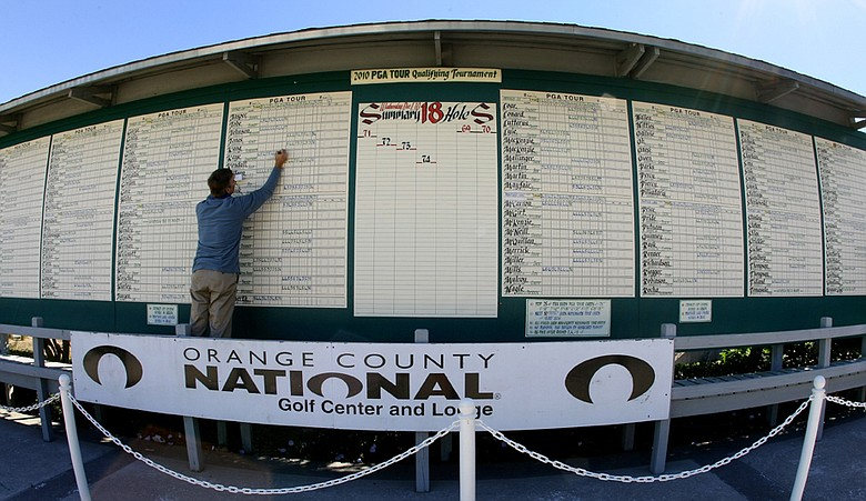 The scoreboard at 2010 PGA Tour Qualifying Tournament at Orange County National, in Winter Garden, FL.