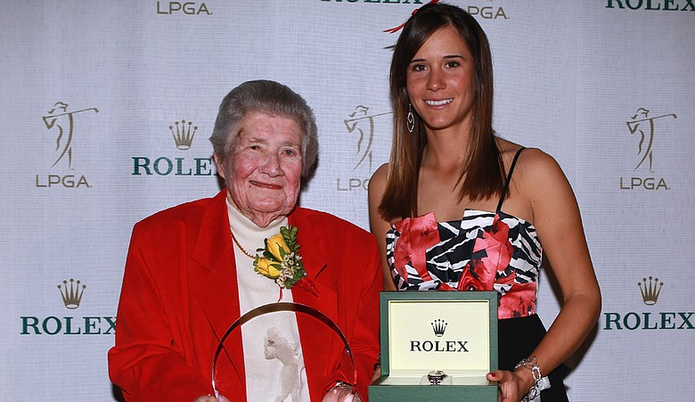 Louise Suggs and Rolex Rookie of the Year Azahara Munoz during the Rolex awards reception.