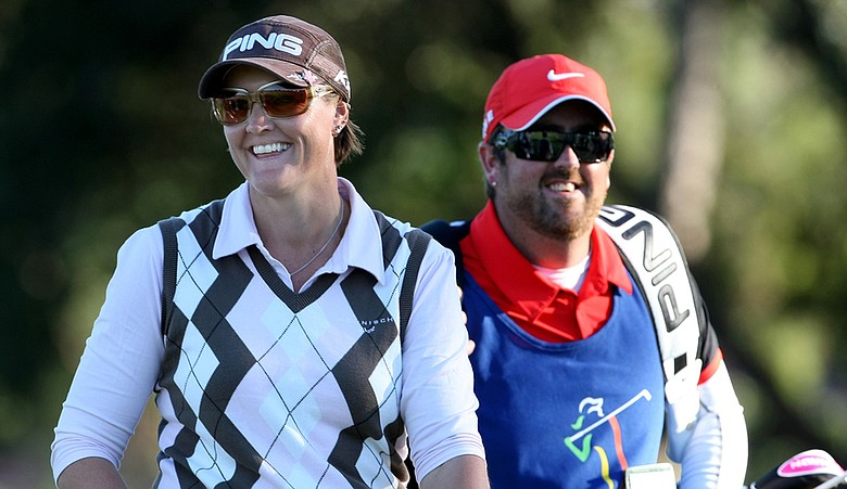 Maria Hjorth with caddie Mark Britton on the final hole of the LPGA Tour Championship.