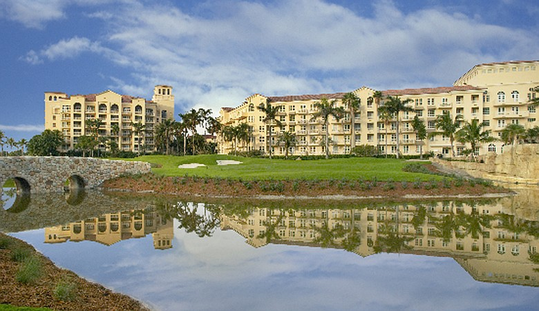 An exterior of the Fairmont Turnberry Isle.