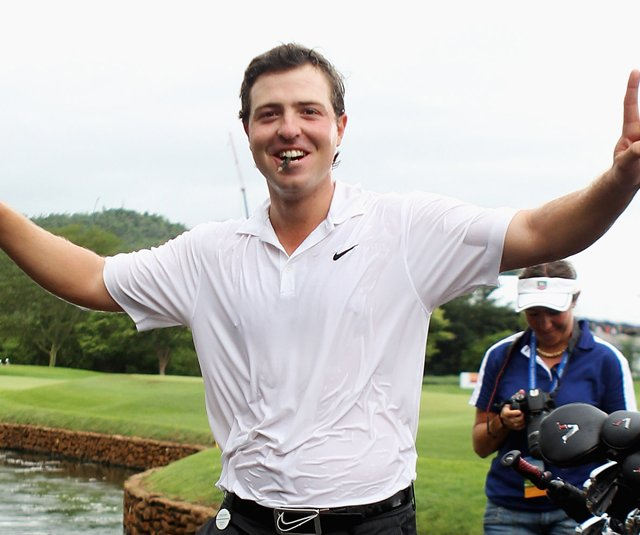 Pablo Martin celebrates after winning the Alfred Dunhill Championship.