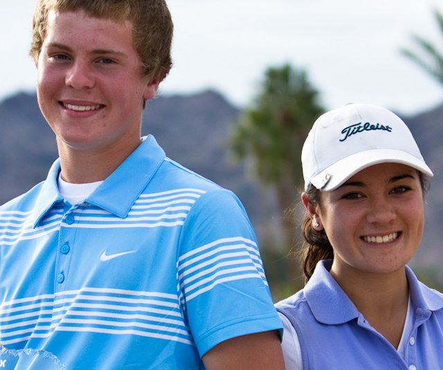 Ryan Porch, left, and Katherine Rice after winning on the Golfweek Junior Tour