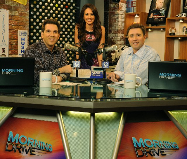From left, Erik Kuselias, Holly Sonders and Gary Williams on the set of Golf Channel's new talk show, 'Morning Drive.'