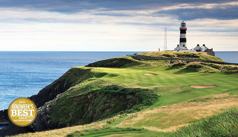 OLD HEAD OF KINSALE, IRELAND - AUGUST 15:  A view of the par 4, 4th hole at The Old Head Golf Links towards the Old Head of Kinsale Lighthouse on August 15, 2010 on the Old Head of Kinsale, Republic of Ireland.  (Photo by David Cannon/Getty Images)