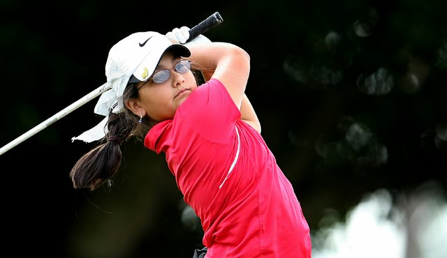 Latanna Stone hits her tee shot at No. 8 during the opening round of the 56th Annual Harder Hall Women's Invitational in Sebring, FL.