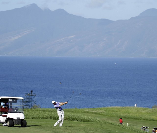 Jim Furyk hits a shot during Wednesday&#39;s pro-am at Kapalua. 