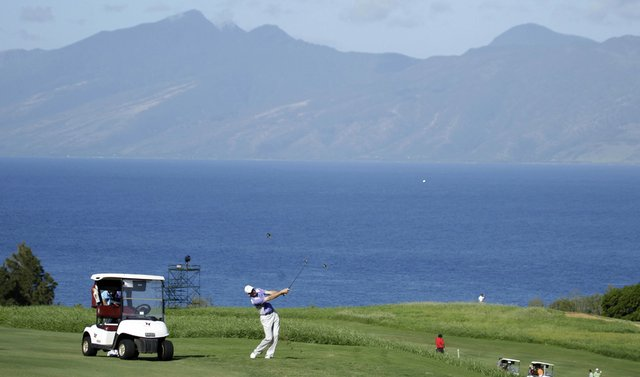 Jim Furyk hits a shot during Wednesday's pro-am at Kapalua.