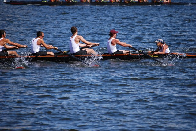 Jacob Snyder, second from left, rows for the Winter Park Crew team during his senior year.