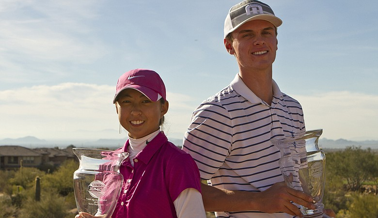 Paige Lee and Michael Moorhead pose after winning the Golfweek West Coast Junior Invitational.