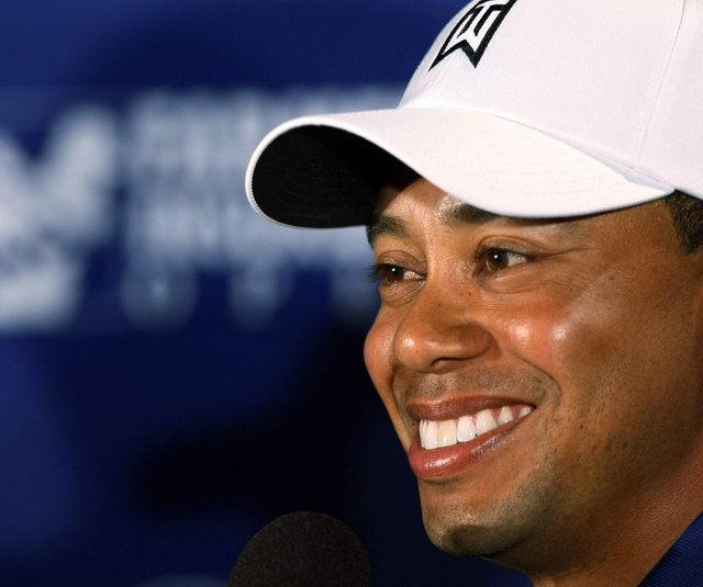 Tiger Woods during a pre-tournament press conference at the Farmers Insurance Open. 