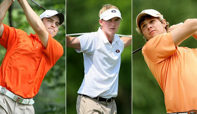 From left, Scott Langley, Russell Henley and Peter Uihlein will compete this weekend at the Jones Cup Invitational.