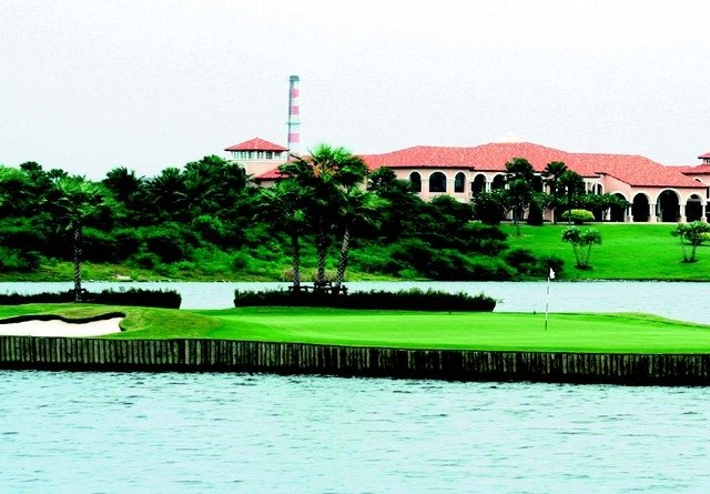 The floating green at the par-3 17th hole at Bangkok's Amata Spring Country Club.
