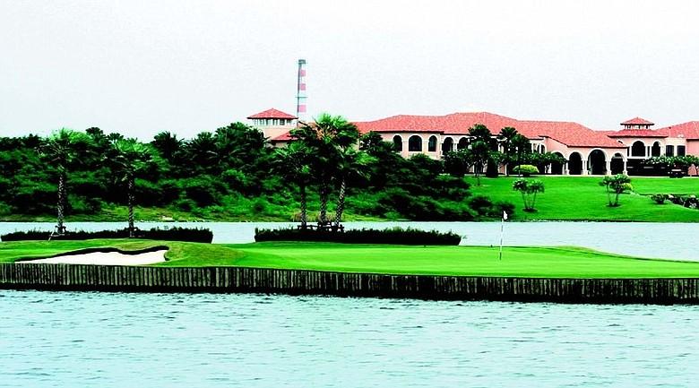 The floating green at the par-3 17th hole at Bangkok's Amata Spring Country Club.