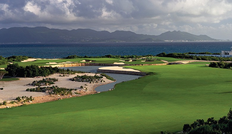 St. Martin (background) provides the backdrop for No. 10 at Temenos Golf Club.