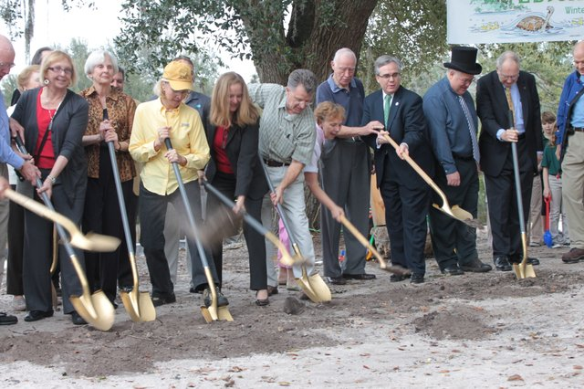 Anyone in the crowd, including students from Park Maitland School, were welcome to grab a shovel and join in on the groundbreaking for the environmental learning center at Mead Botanical Garden on Wednesday, Feb. 2.