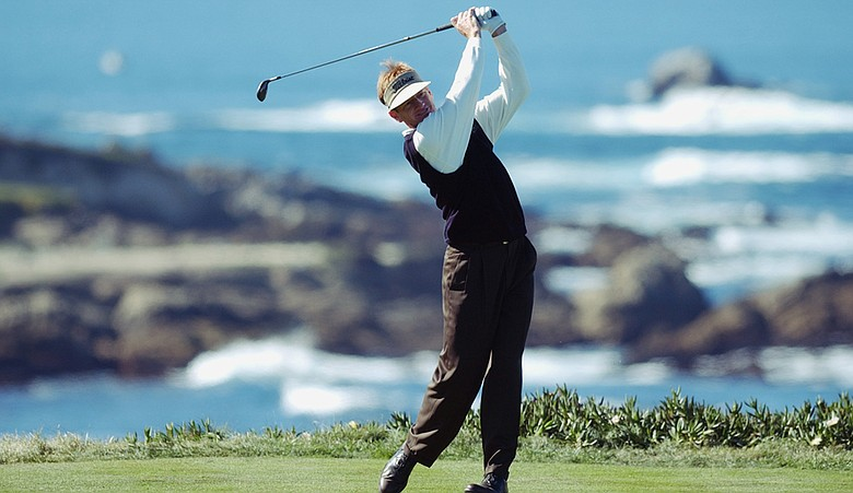Brad Faxon hits off the fourth tee during the third round of the AT&T Pebble Beach National Pro-Am on February 8, 2003 at Spyglass Golf Course in Pebble Beach, California.