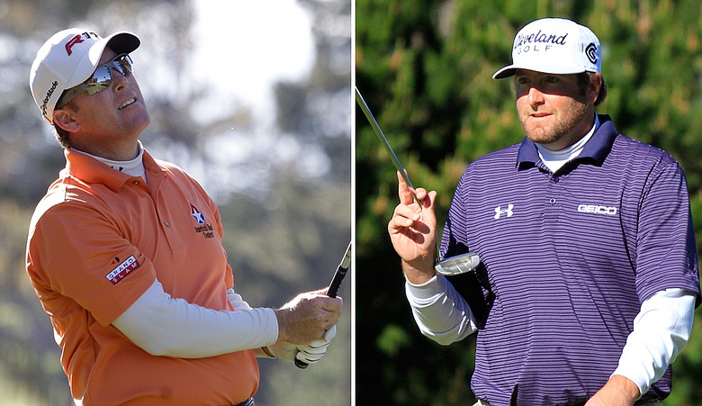 D.A. Points, left, and Steve Marino lead after Round 1 of the Pebble Beach National Pro-Am.