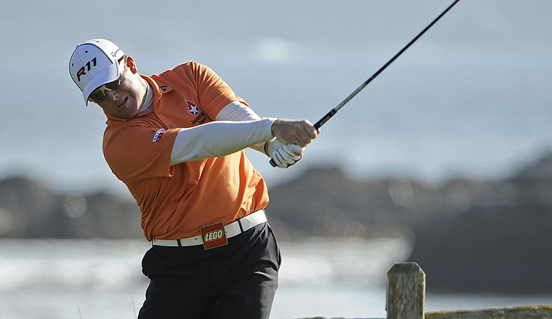 D.A. Points plays from the 18th tee during the final round of the AT&T Pebble Beach National Pro-Am at Pebble Beach Golf Links on February 13, 2011.