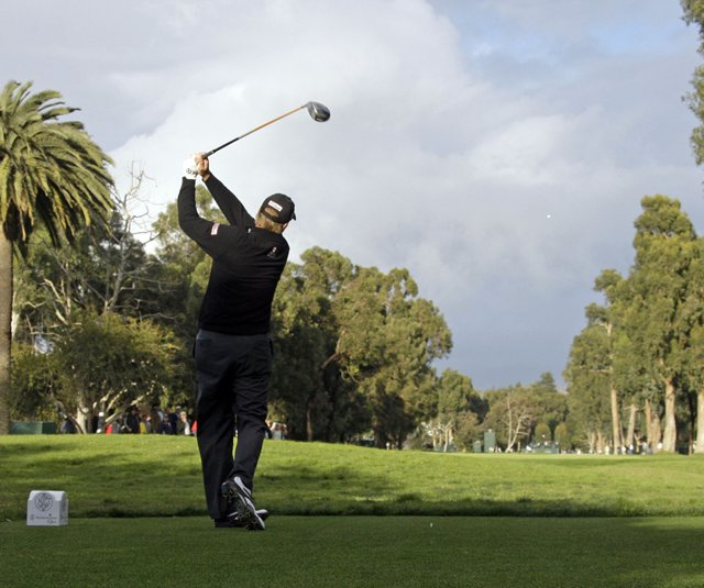 Steve Stricker tees off during the 2010 Northern Trust Open.