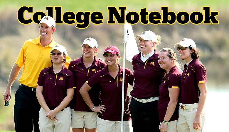 Minnesota's Ernie Rose, director of instruction, and players, Banchalee Theinthong, Michelle Edlin,Teresa Puga, Mary Narzisi, Samantha Sommers and Jackie Shepard during the final round of the UCF Challenge at Red Tail Golf Club.