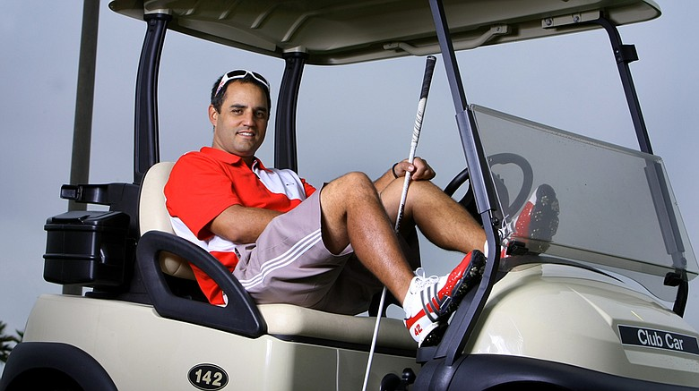 NASCAR driver Juan Pablo Montoya at a recent LPGA International golf outing. Montoya was playing in the 38th annual Daytona 500 NASCAR/Celebrity Charity Golf Classic.
