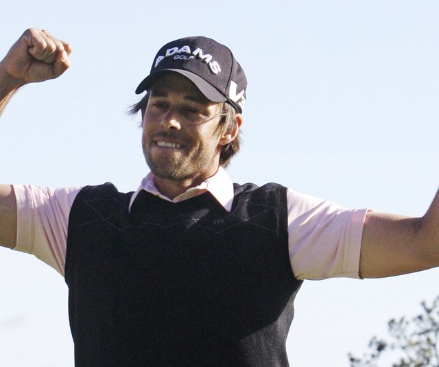 Aaron Baddeley reacts after winning the 2011 Northern Trust Open at Riviera.
